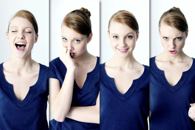 4 Four images of the same woman in various emotional states